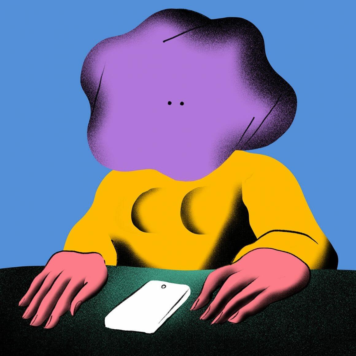 Bad phone call par Genie Espinoza (personnage jaune, rose et mauve attablé devant un téléphone)
