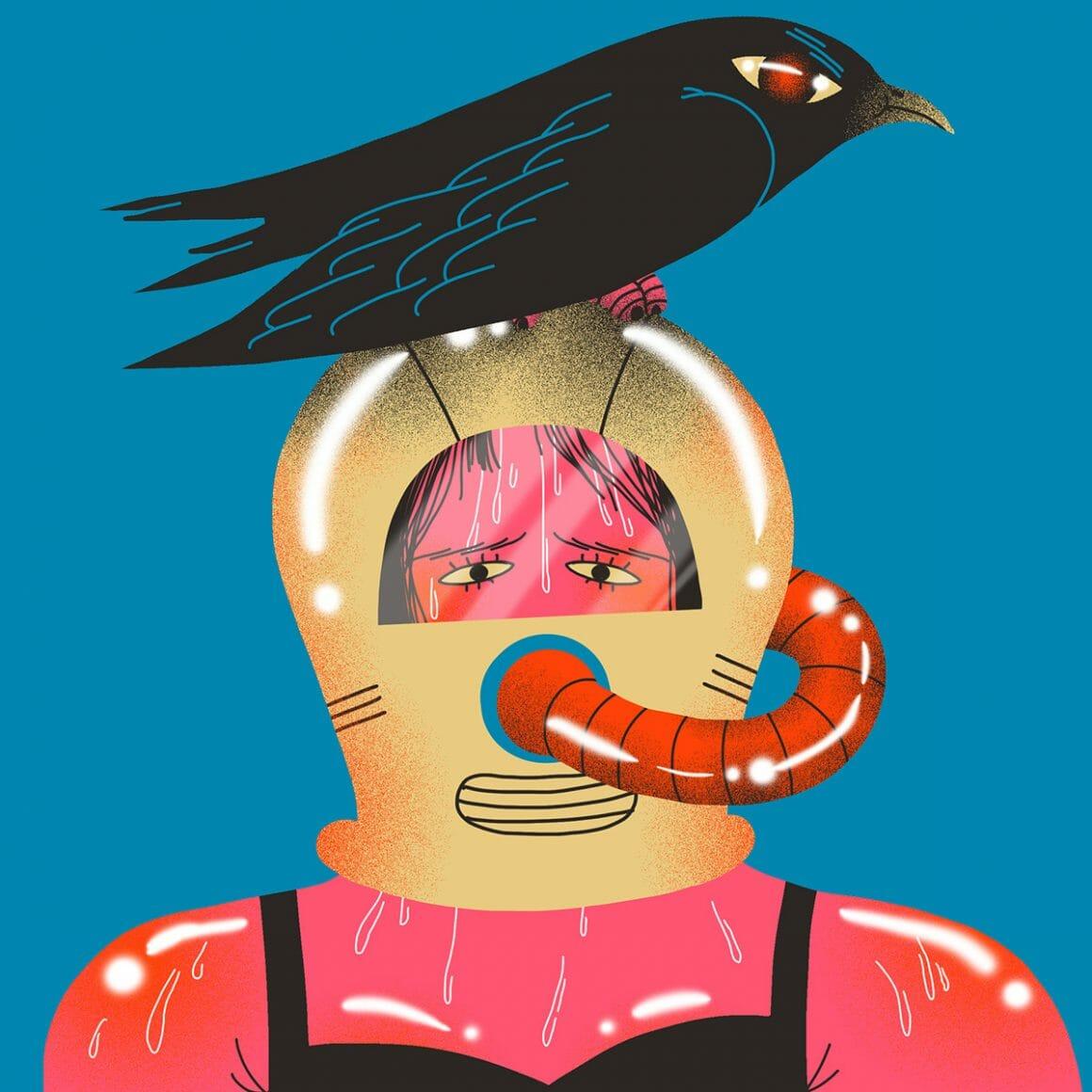 Statement illustrations par Genie Espinosa. Un personnage féminin dans un scaphandre, surmonté d'un corbeau.