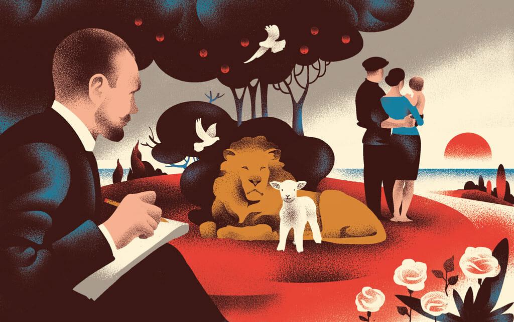 Valentin Tkach, Un écrivain ou un dessinateur devant une scène complexe où sont présents un lion, un agneau, un couple portant un bébé, une colombe et des pommiers.