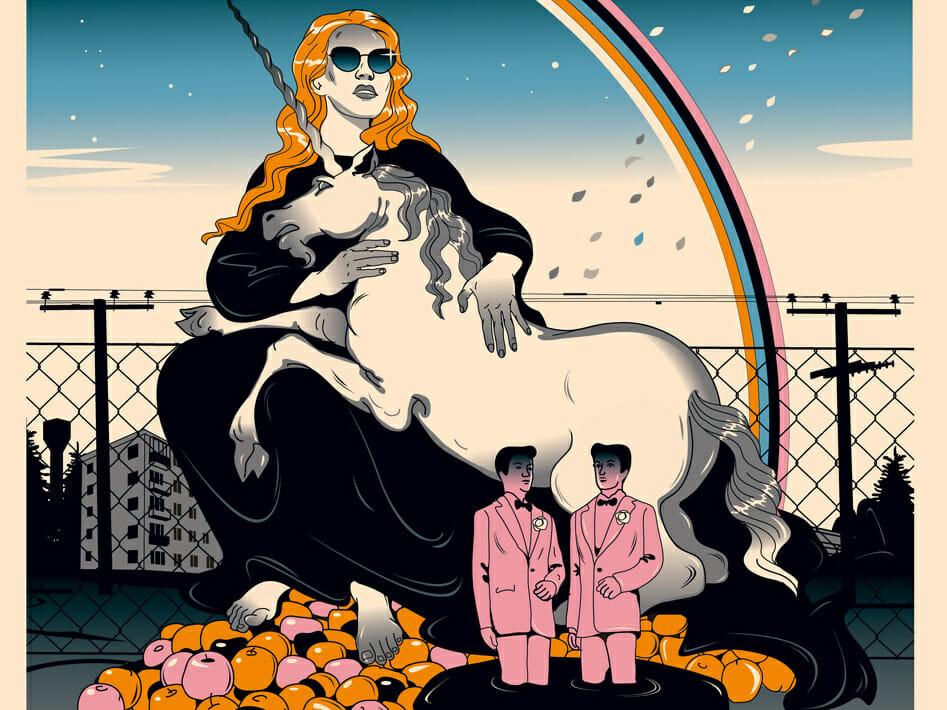 Valentin Tkach, Une femme aux lunettes de soleil portant une licorne sur ses genoux. Devant elle deux personnages masculins miniatures.