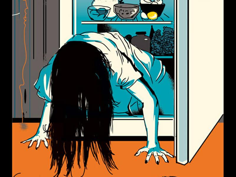 Valentin Tkach, Illustration inspirée de The ring. Une fillette inquiétante sort du réfrigérateur.