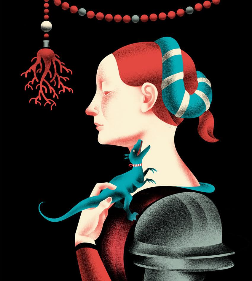 illustration Une femme de profil portant un animal ressemblant à un dinosaure ou une salamandre.