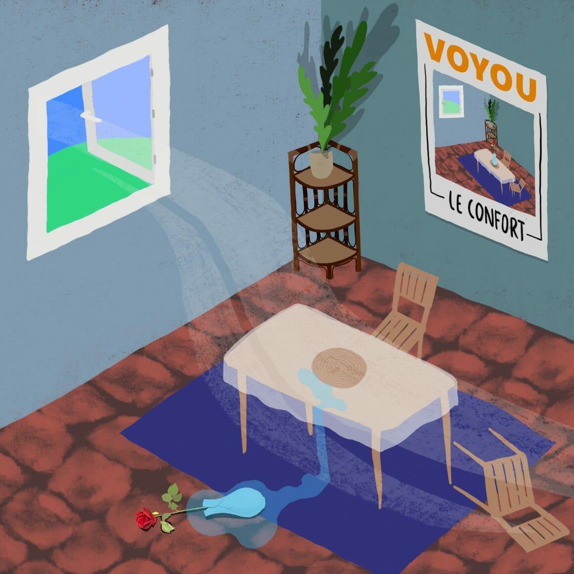 """Pochette du nouvel EP de Voyou, """" Le Confort """""""