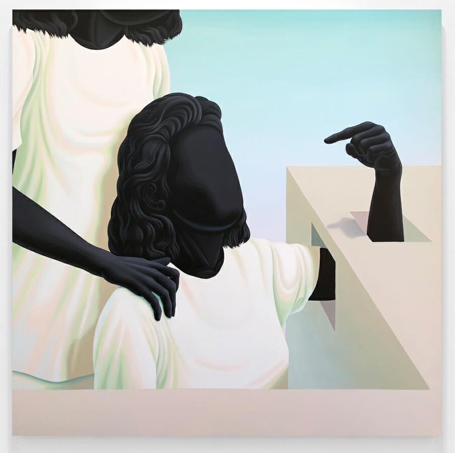 Alex Gardner, deux personnages dont une femme qui passe son bras dans un mobilier et tend son doigt.