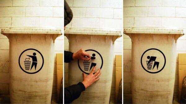 Biancoshock, 70 Degrees of Decay, 2013, oeuvre de détournement d'un logo de recyclage.