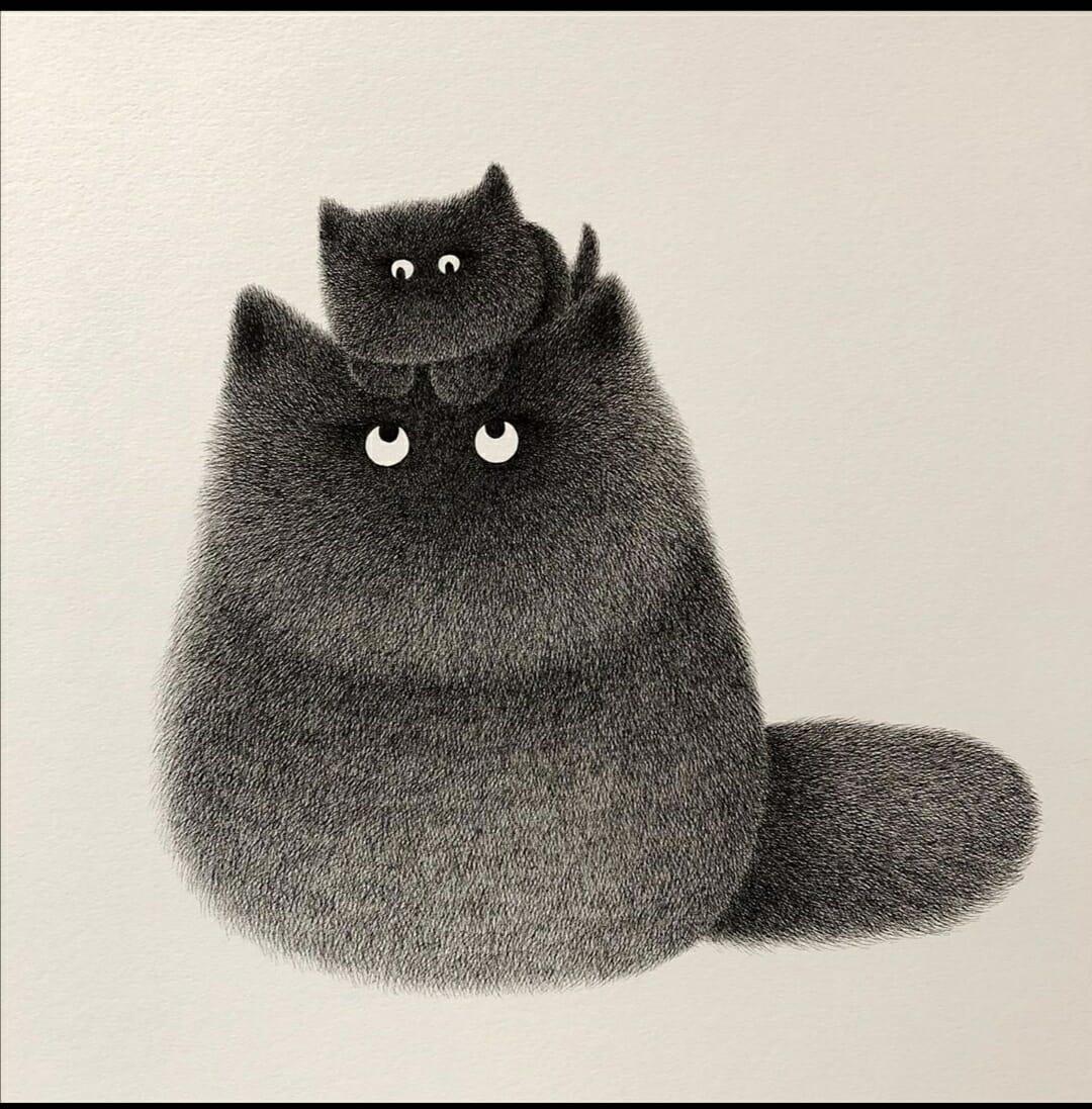 Chat et son chaton, un dessin de l'artiste Kamwei Fong
