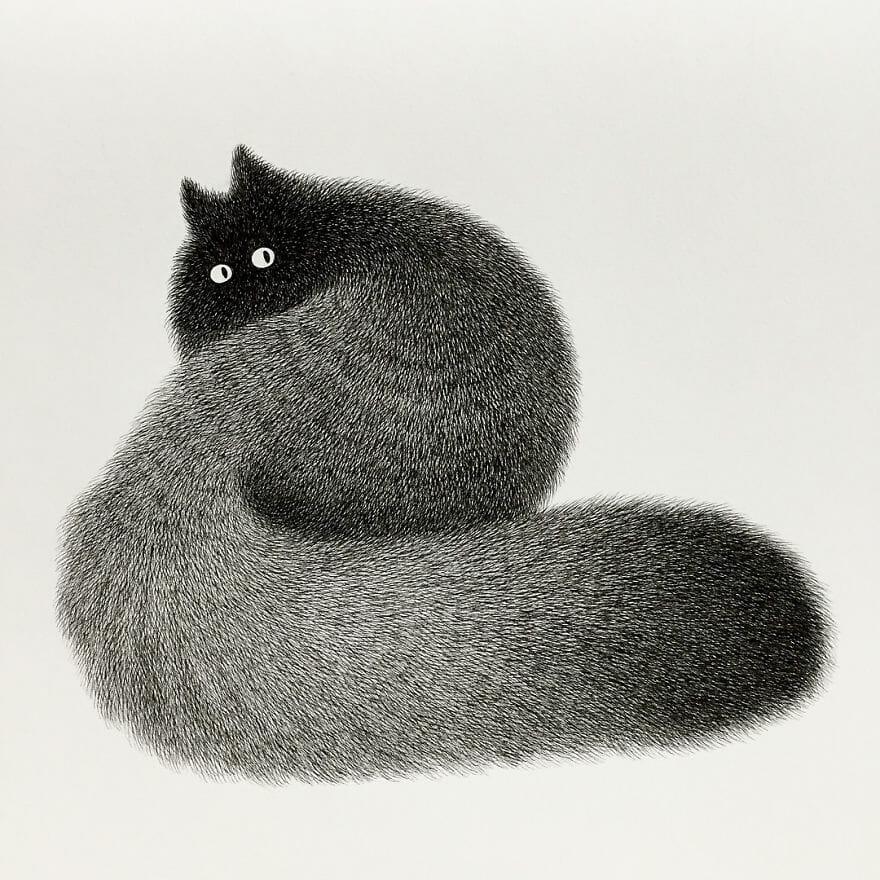 "Dessin de Kamwei Fong représentant un chat "" The Furry Thing """