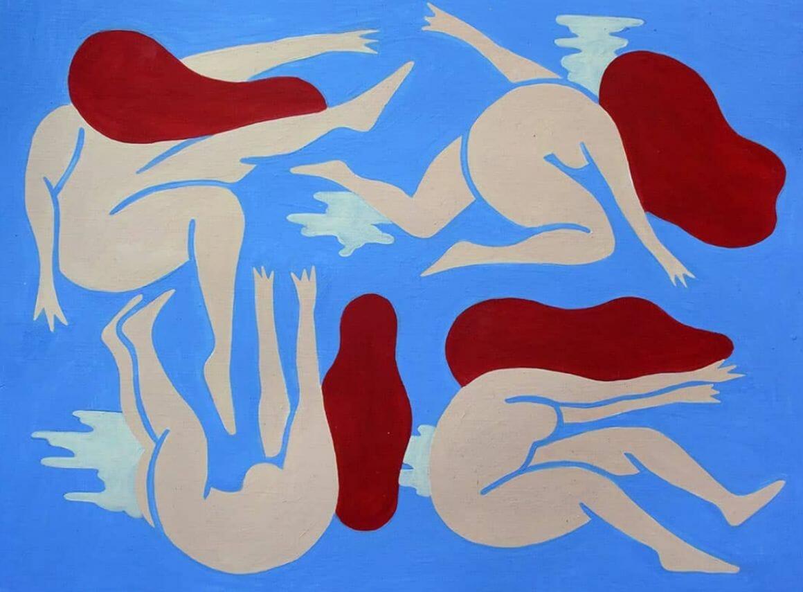 Clara Duflos femmes sur fond bleu