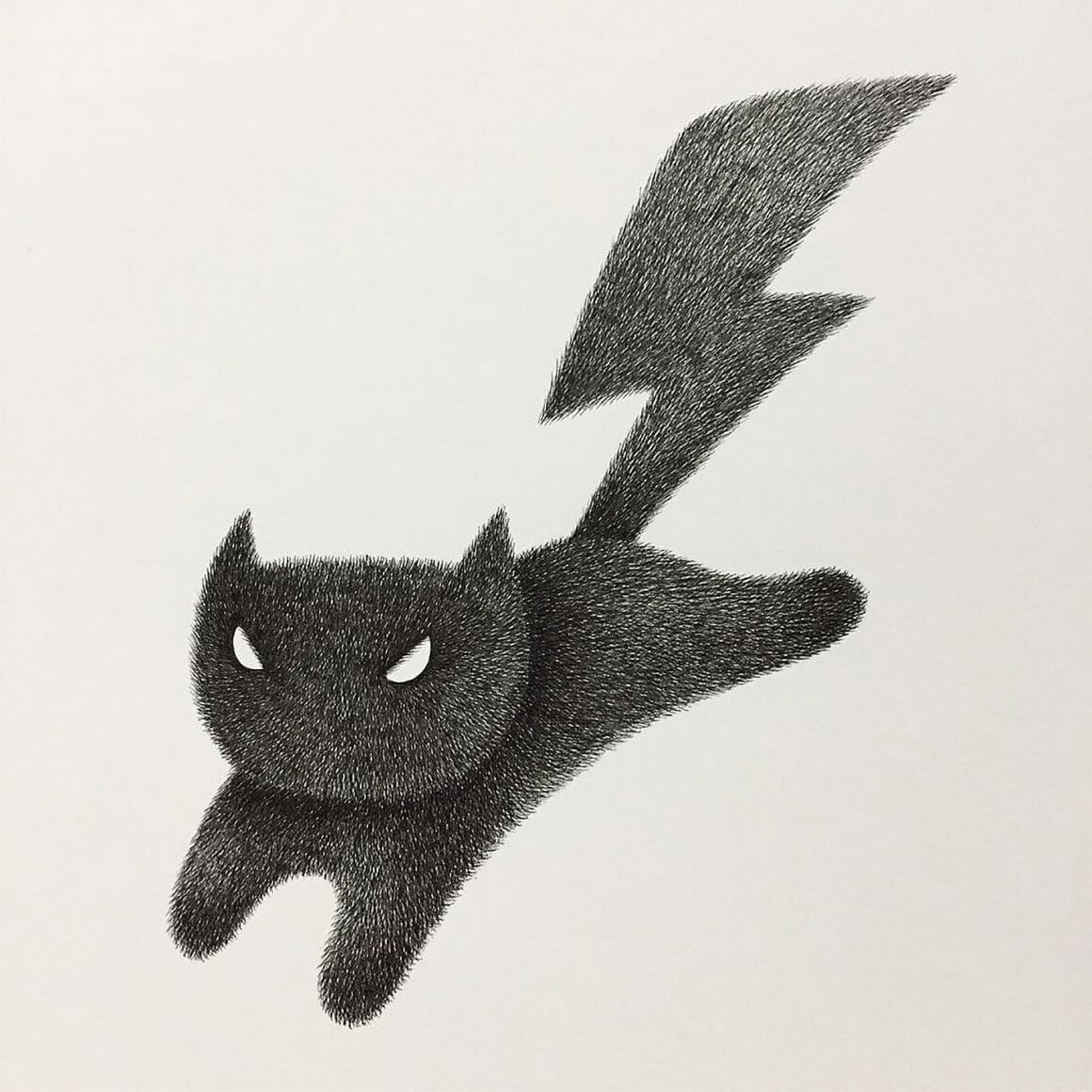 Dessin de chat de Kamwei Fong. Celui-ci représente un chat avec une queue en forme d'éclair.