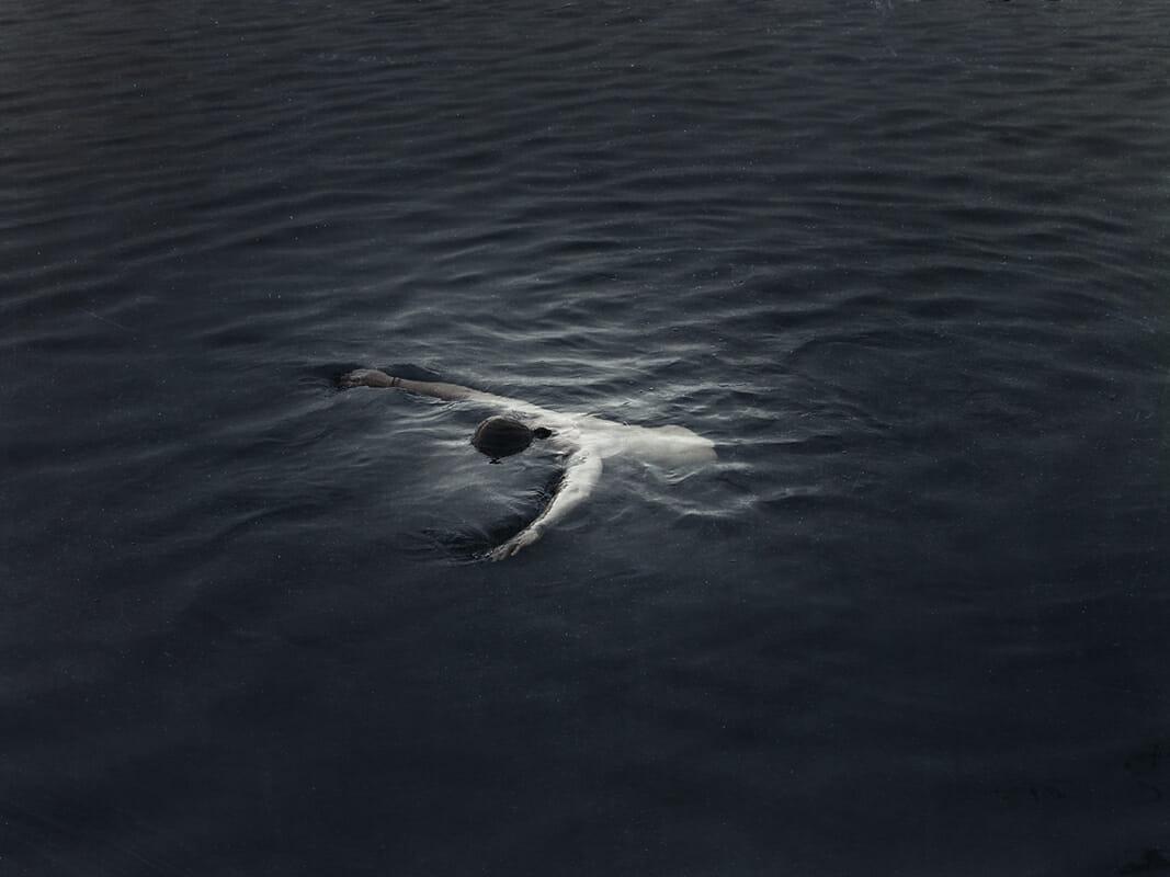 Kristoffer Axén, un personnage dans la mer sur le ventre.