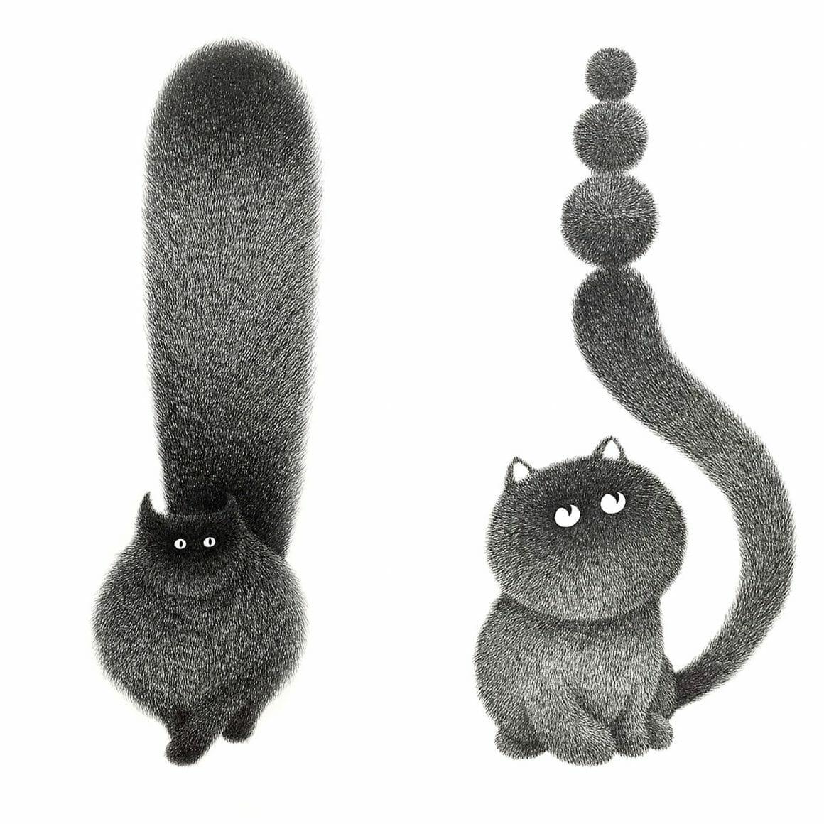 Dessin de chats de l'artiste Kamwei Fong