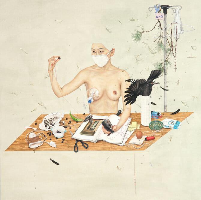 """"""" Restraints-Boundaries """", dessin datant de 2012 de l'artiste Lee Jinju."""