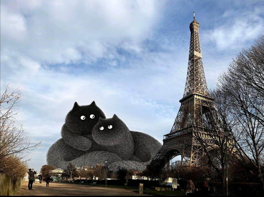 Chats devant la Tour Eiffel, un montage de l'artiste Kamwei Fong
