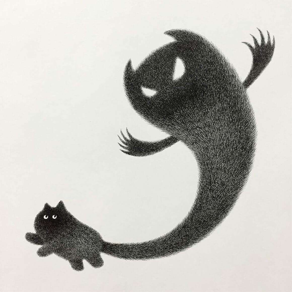 Dessin de chat de Kamwei Fong, celui-ci représente un chat dont la queue ressemble à un mauvais fantôme.
