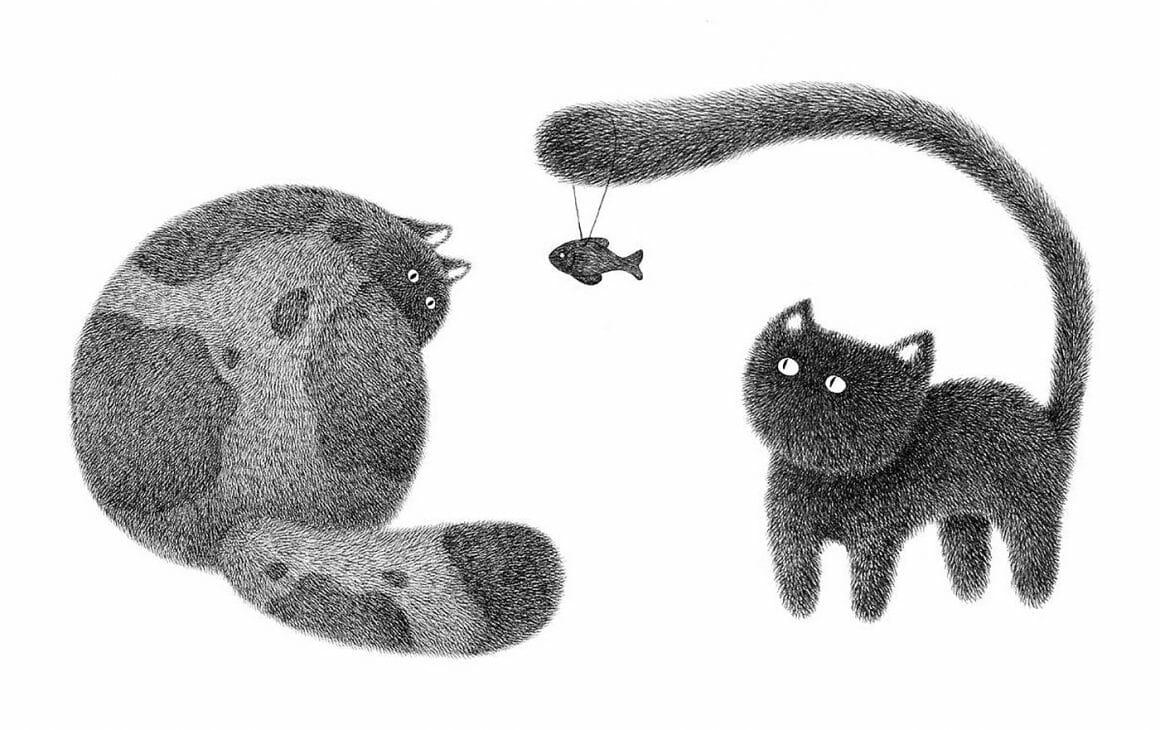 Chats et poisson, dessin de l'artiste malaisien Kamwei Fong