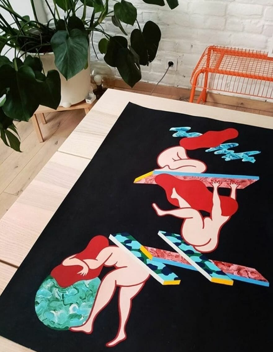 Clara Duflos peinture au sol