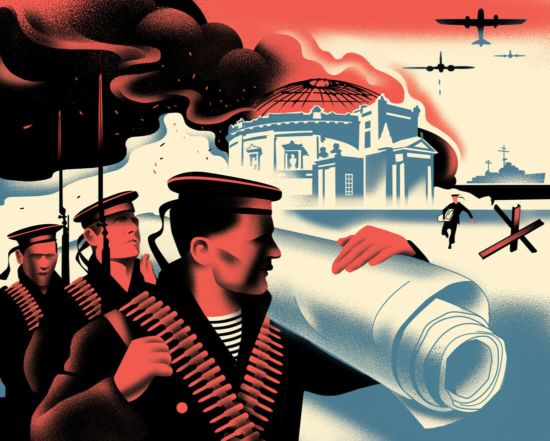 dessin façon propagande russe