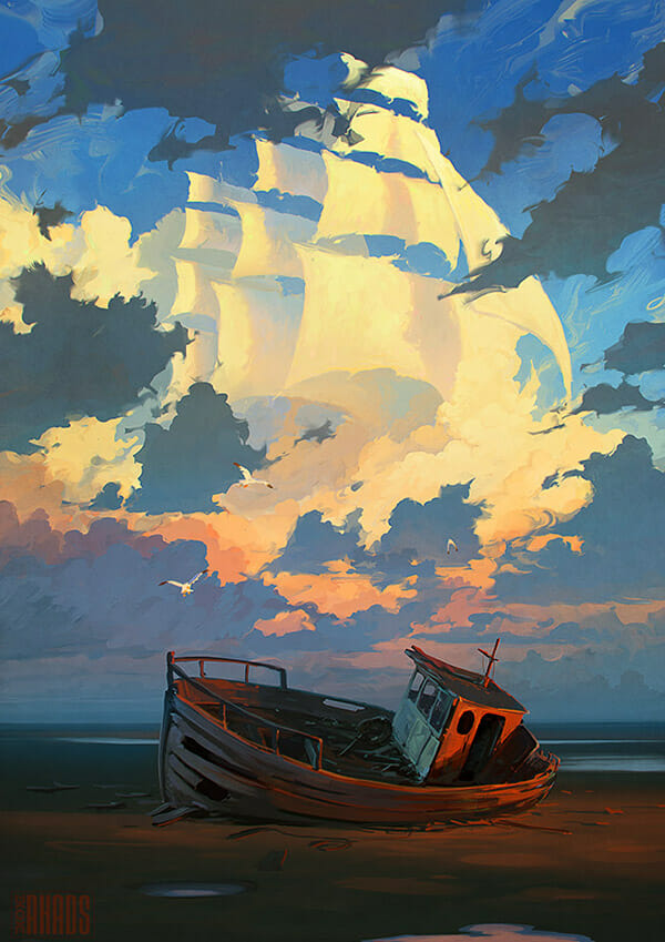 Bateau échoué sur une plage, où de grandes voiles d'un navire se dessinent dans le ciel Artem Chebokha