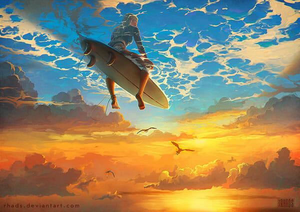 Surfeuse entre ciel et mer lors d'un coucher de soleil