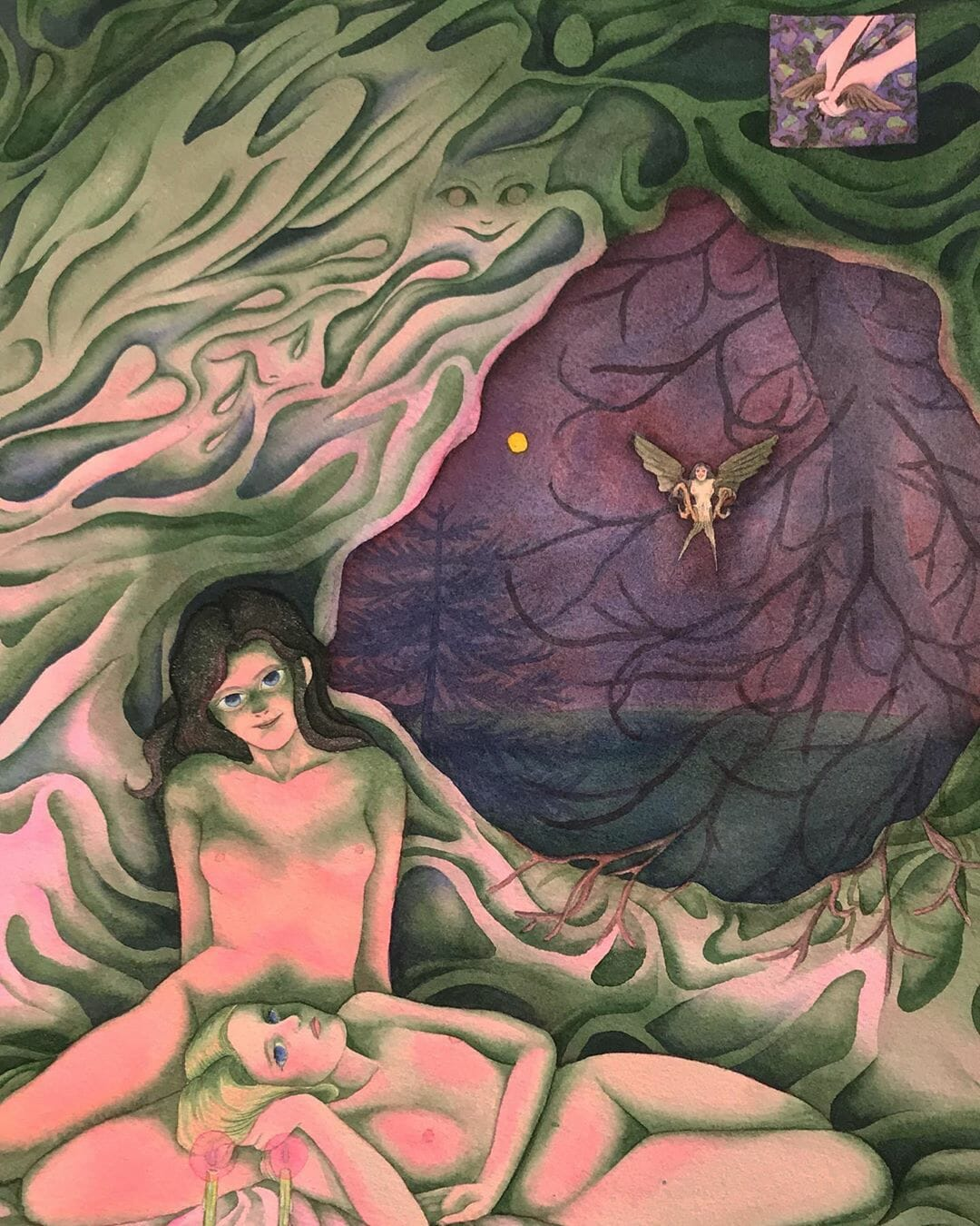 deux femmes nues dans une caverne art par Oda Iselin