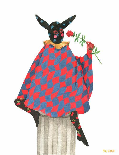 Stacey Rozich, un personnage assis sur un piédestal avec une tenue médiéval/ Renaissance avec une rose à la main.