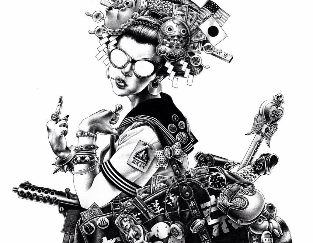 Geisha et doigt d'honneur illustration par Shohei Otomo