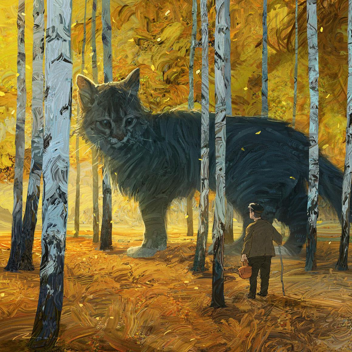 Chat géant face à un homme dans les bous