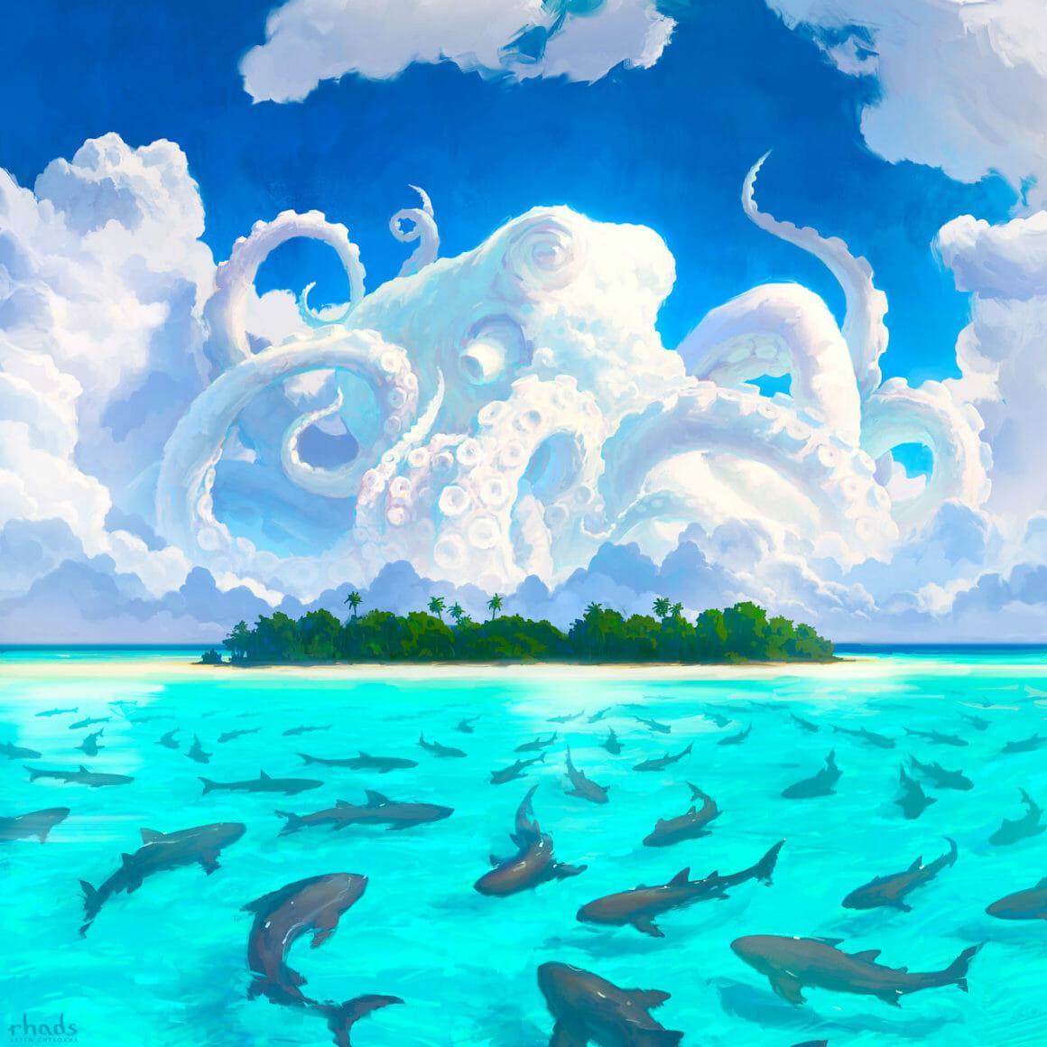 Pieuvre se mêlant aux nuages au dessus d'une ile entourée de requins