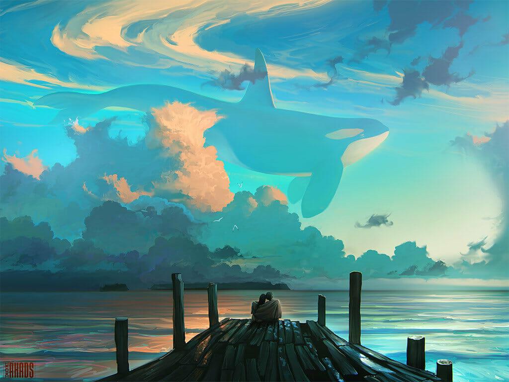 Couple assis sur un ponton regardant le ciel où se trouve une orque géante  par Artem Chebokha
