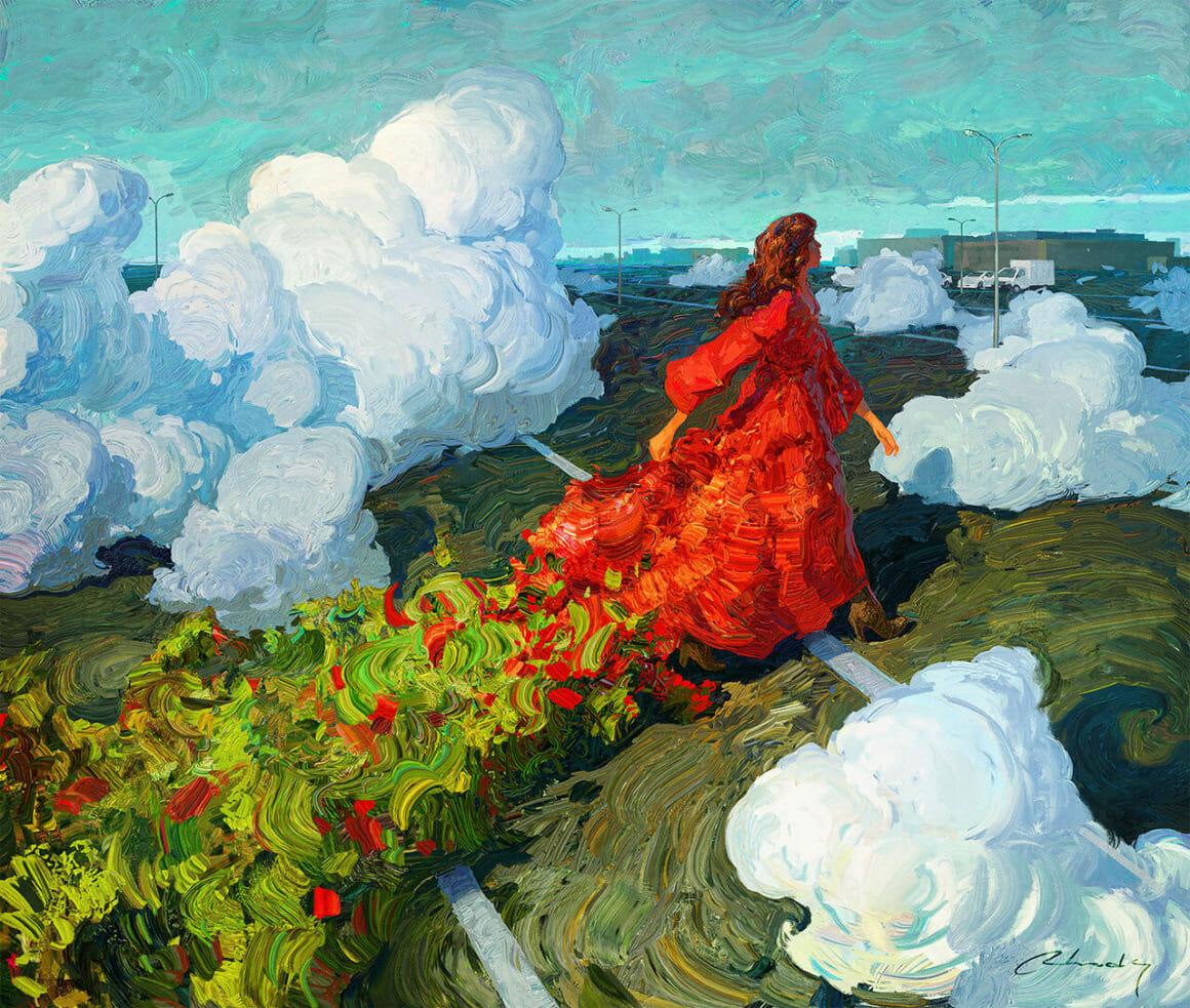 Femme marchant vers un paysage industriel au milieu de nuages