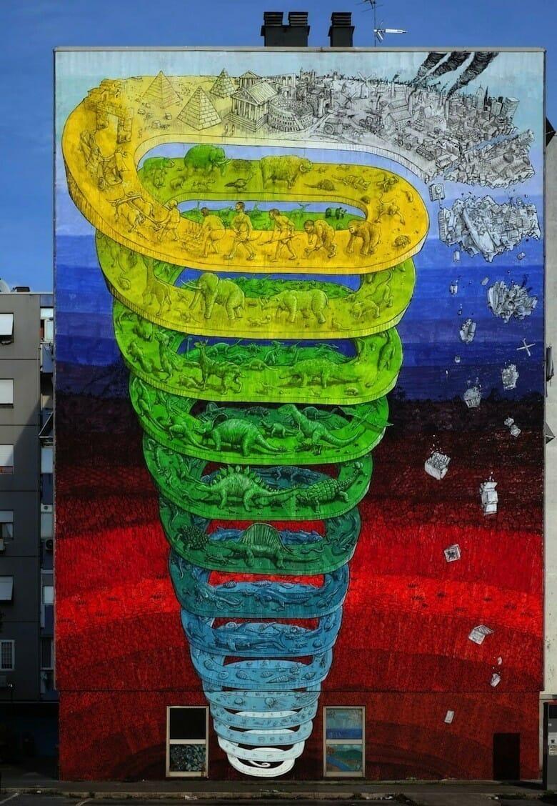 Fresque de l'évolution réalisée par l'artiste Blu
