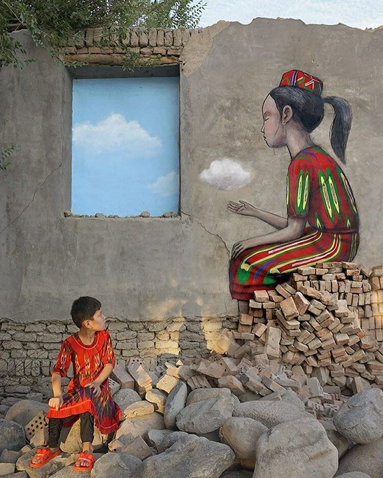 Graffiti réalisé en asie par l'artiste français Julien Malland