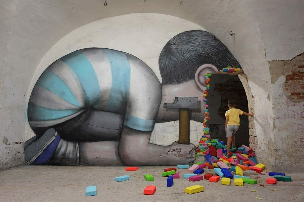 oeuvre de street art enfant