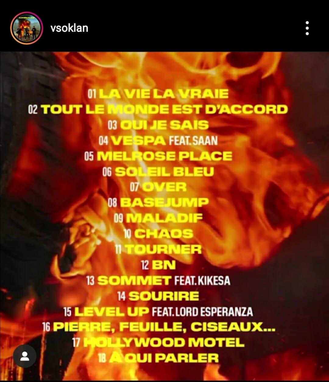 Photo de la liste des titres de l'album Adrénaline de VSO