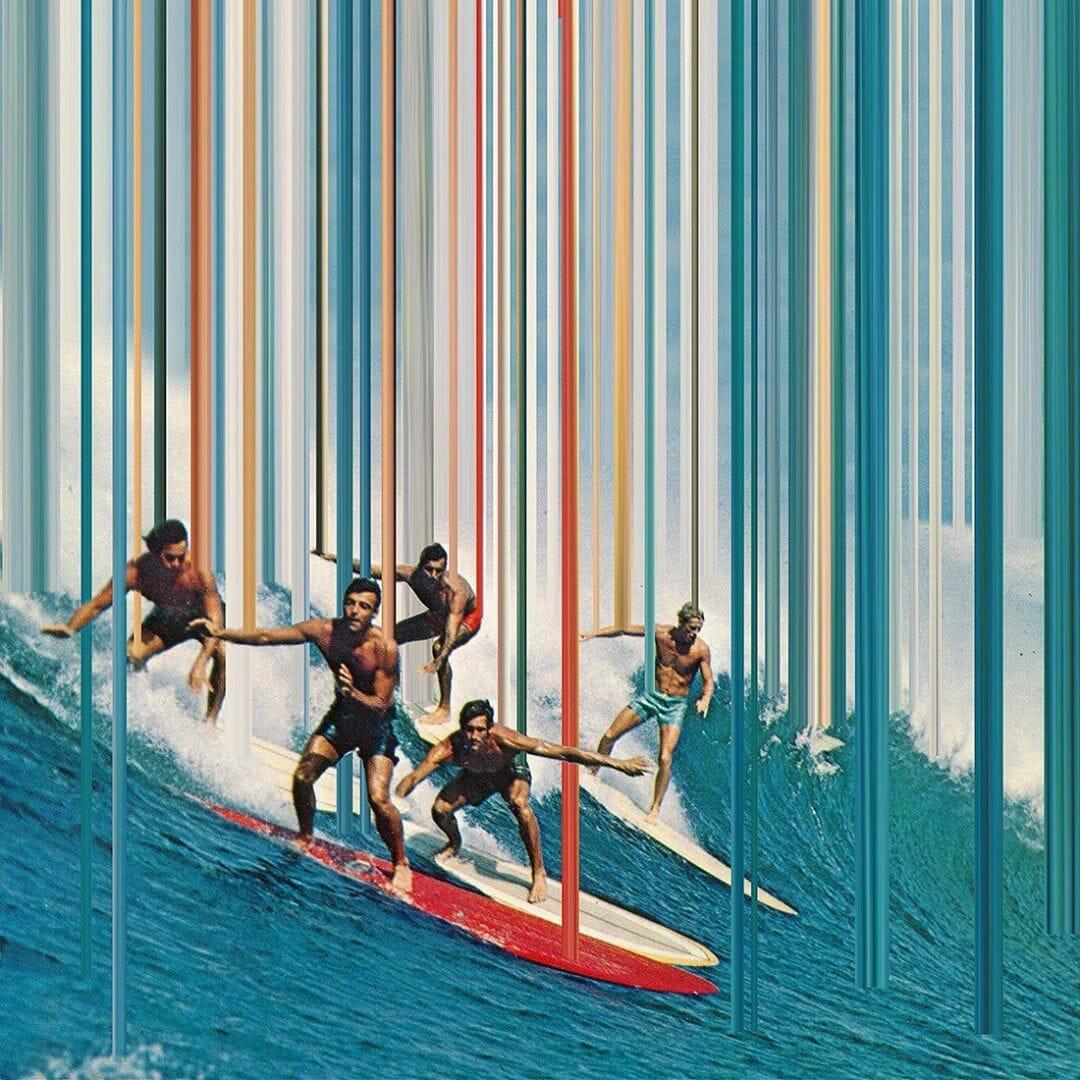 hommes faisant du surf, extrait du projet invisible realm