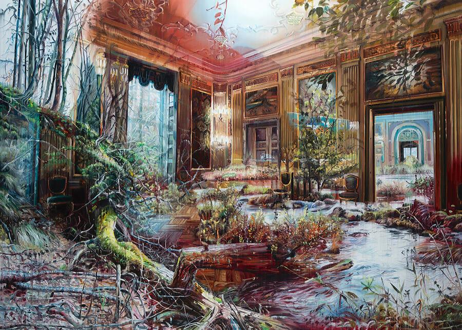 Appartement où la nature par effet de superposition semble reprendre ses droits. Peinture de Jacob Brostrup