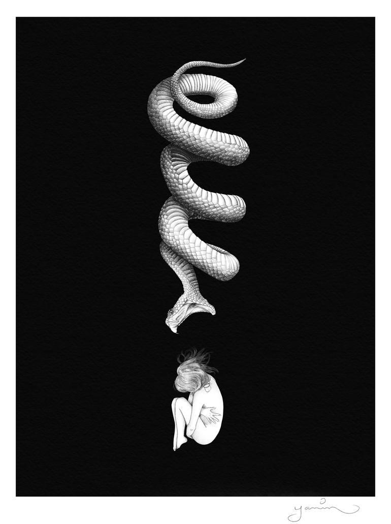 serpent voulant manger une jeune femme