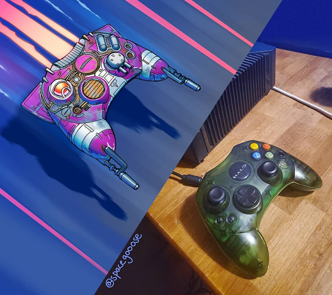 Manette de Xbox transformée en vaisseau spatial