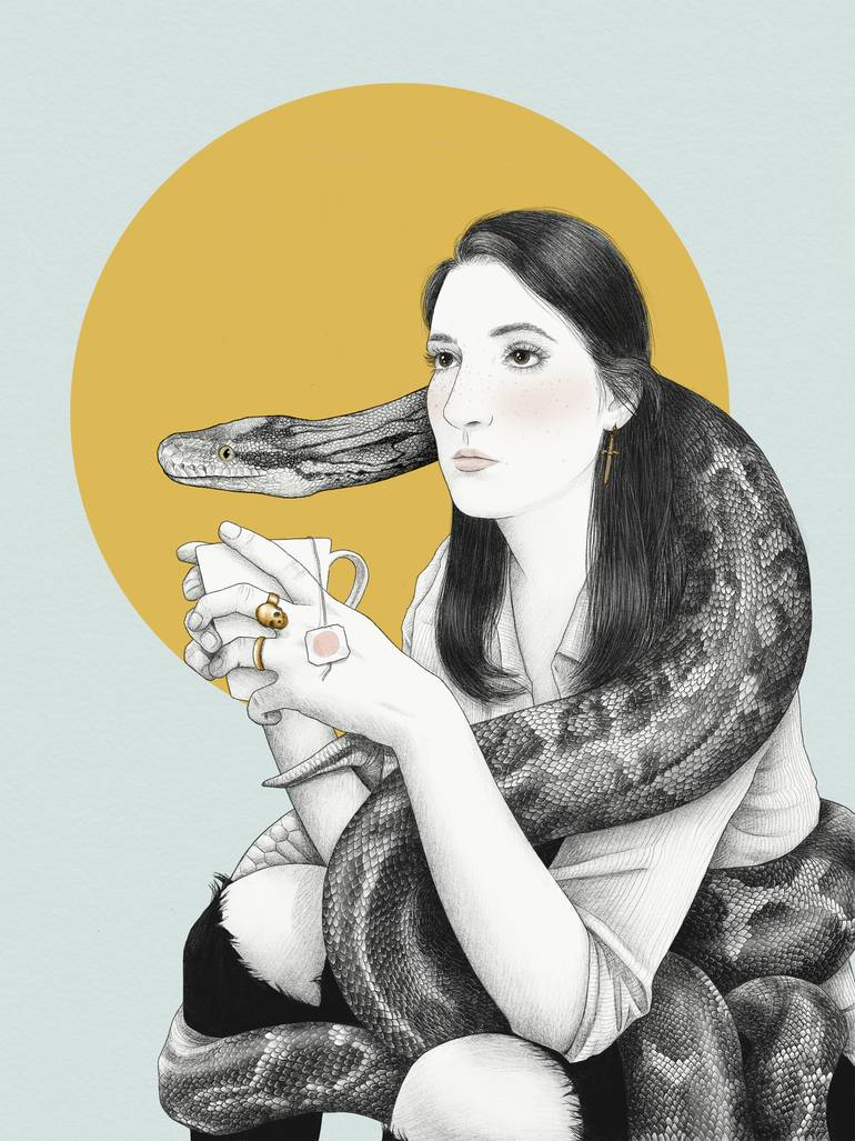 fille à la tasse avec un serpent autour d'elle dessin