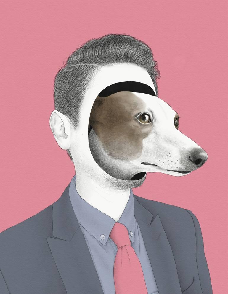 Homme au chien par Yanin Ruibal