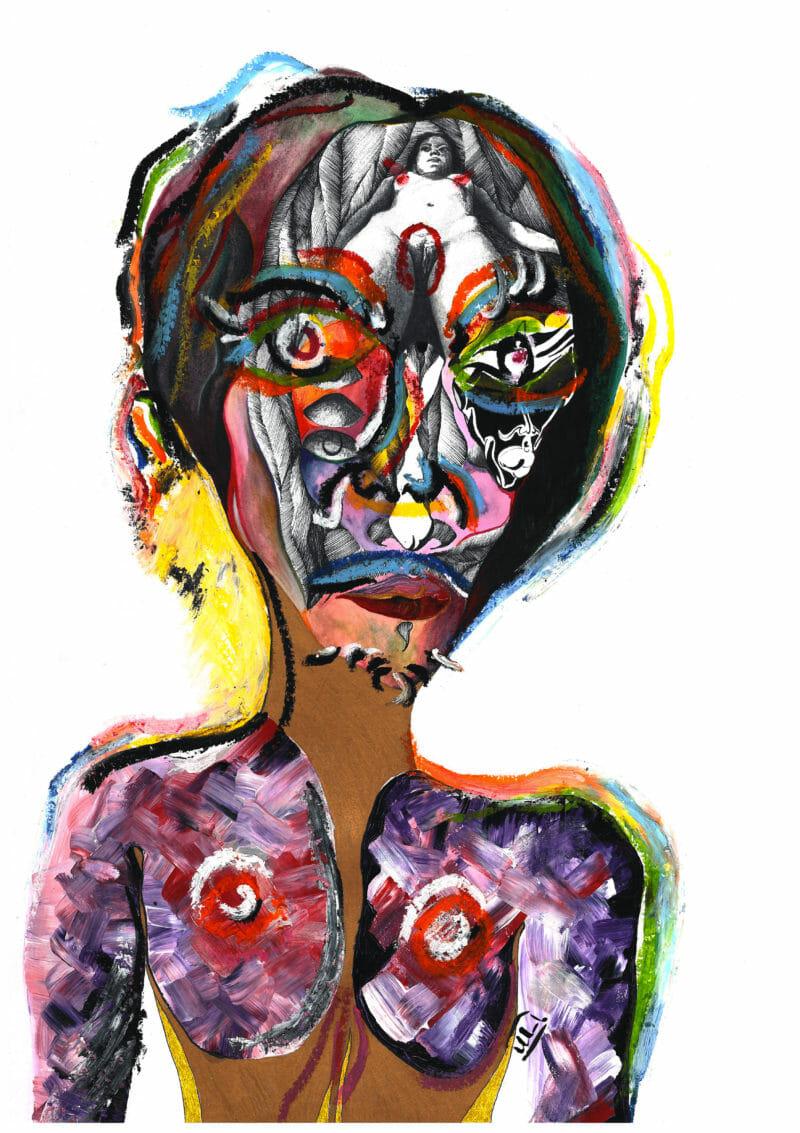 Visage coloré, avec une femme à la place du cerveau