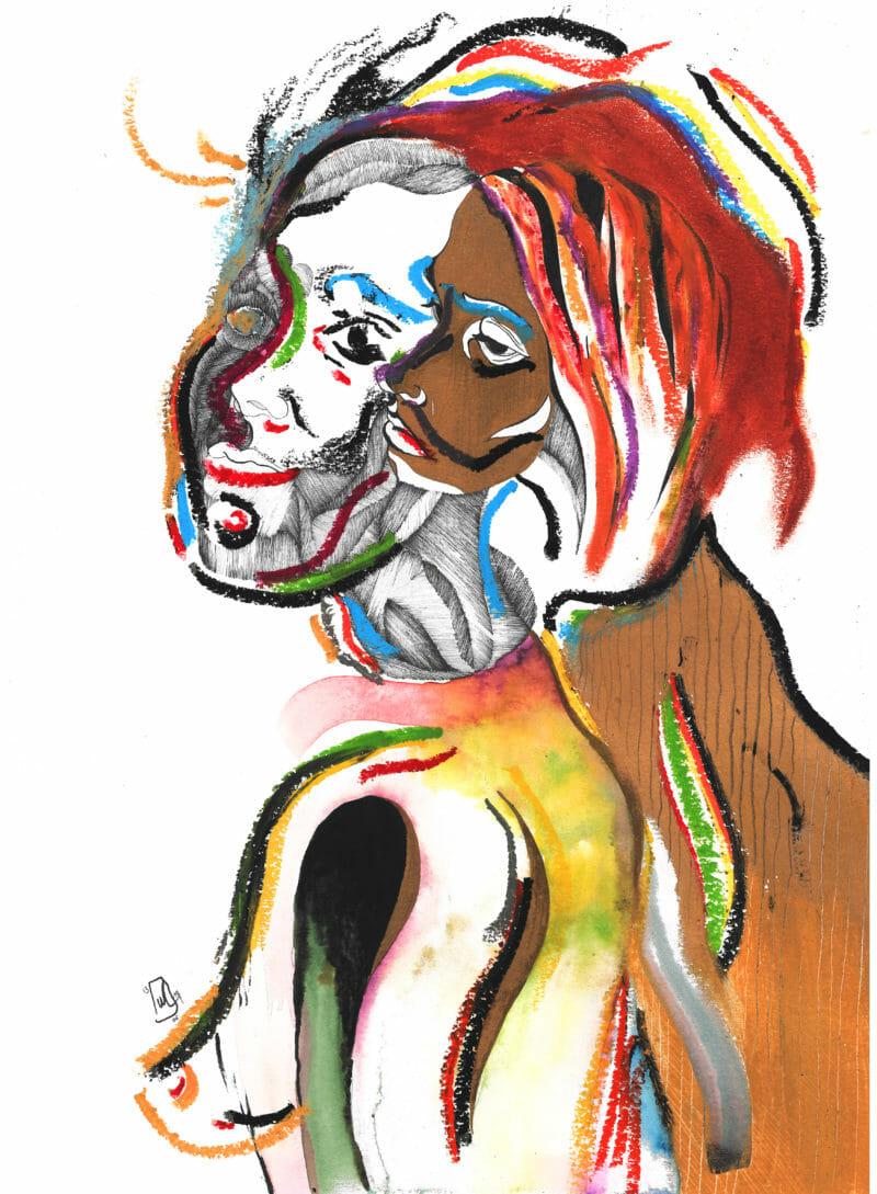 Femme à deux visages (rappelle Jeune fille à la Perle)