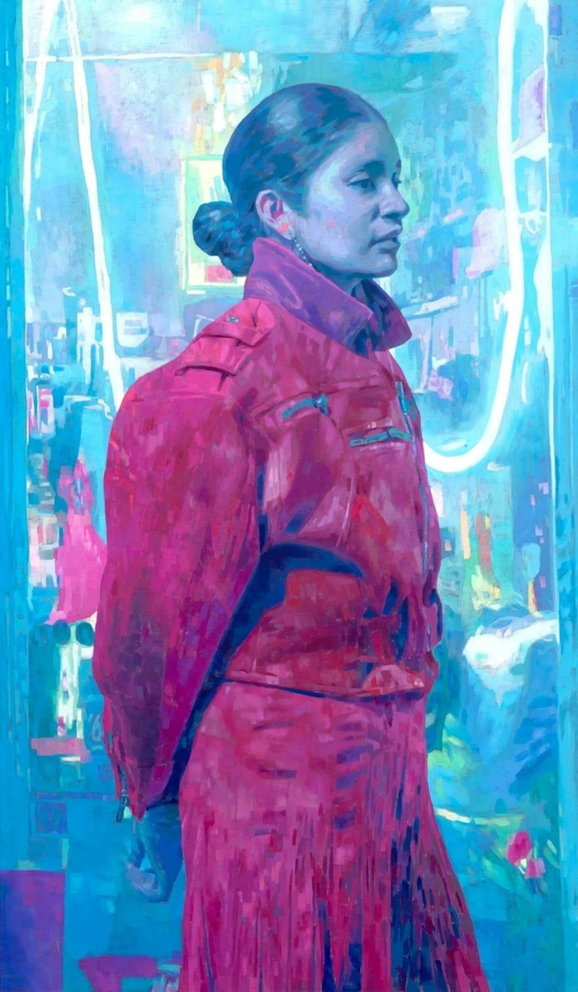 femme peinture Light City