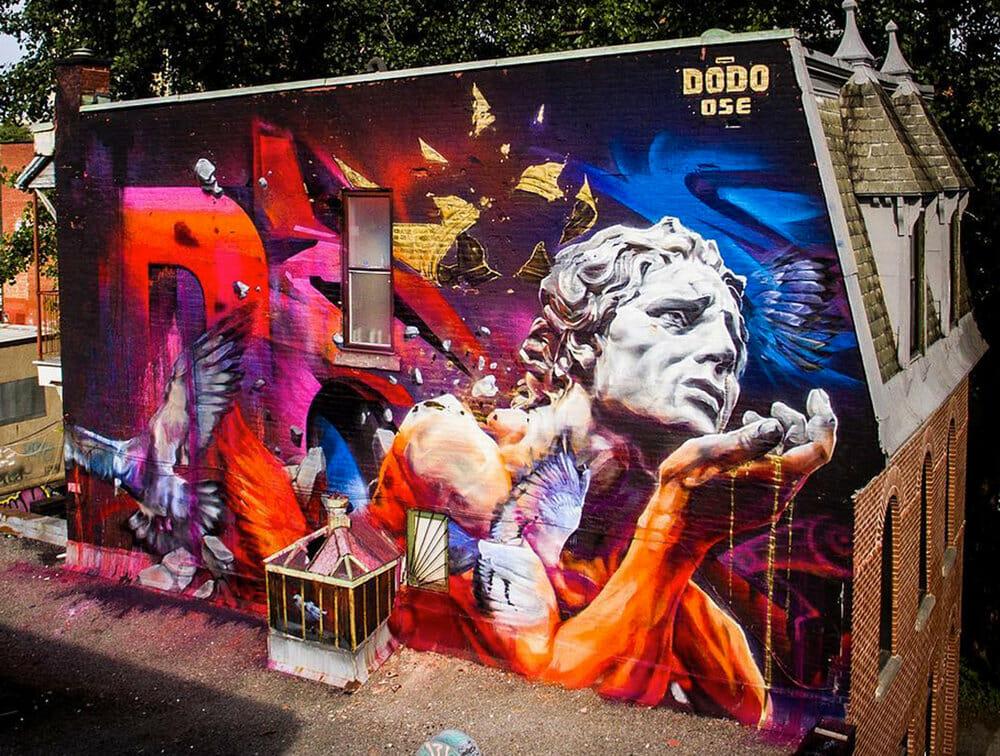 grand fresque de street art par  Dodo Ose