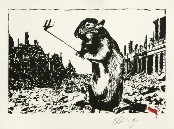 "Dessin de Blek le rat "" After The Apocalypse ""  street art"
