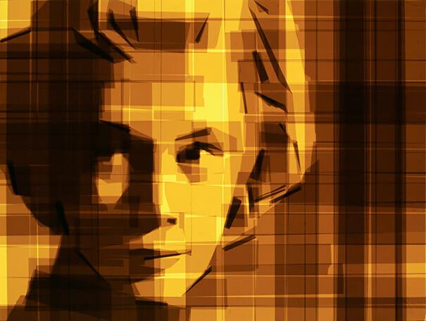 Portrait réalisé avec la méthode de brown tape art