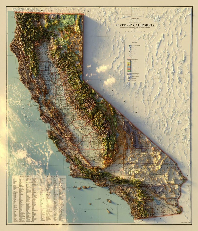 carte 3d de la californie