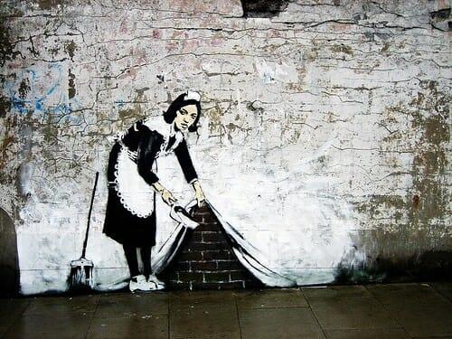 Oeuvre de Banksy au pochoir