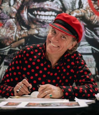 jef aérosol street art portrait artiste chemise à pois rouges beret rouge et noir