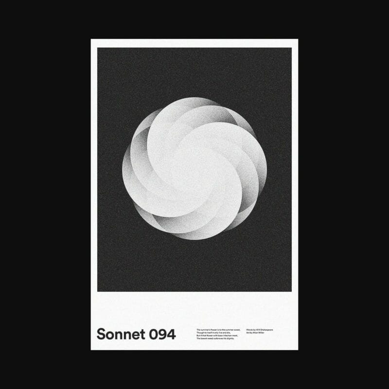 sonnet 94 rose rosace blanche symétrie Polaroïd